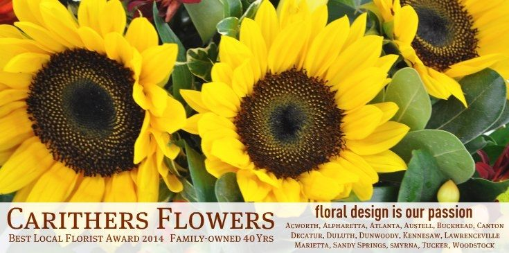 Voted Best Florist in Atlanta, Carithers Flowers delivers unique, custom flower arrangements in Atlanta, Alpharetta, Buckhead, Decatur, Duluth, Dunwoody, Kennesaw, Lawrenceville, Marietta, Sandy Springs, Smyrna, Woodstock.
