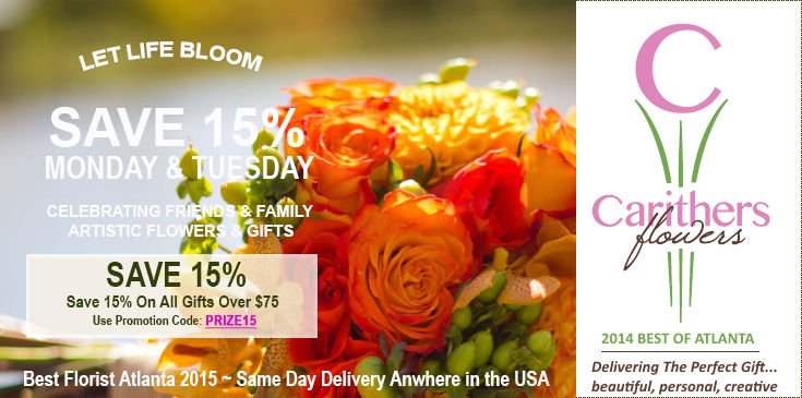 Winner Best Florist in Atlanta with same day flower delivery in Alpharetta, Buckhead, Decatur, Duluth, Lawrenceville, Marietta, Roswell, Sandy Springs. Carithers Flowers, family-owned 40 years.