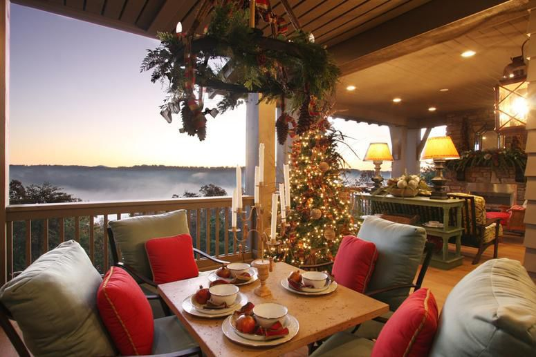 outdoor patio featuring permanent holiday tree decorated in 39 highlands