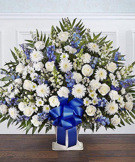 White & Blue Heartfelt Sympathy Basket