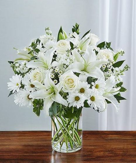 Sincerest Sympathy All White Vase