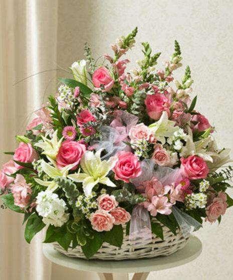 Garden of Sympathy Basket  - Pinks & Whites