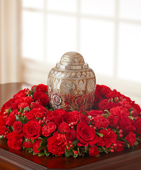 The Cremation Table Wreath in Red