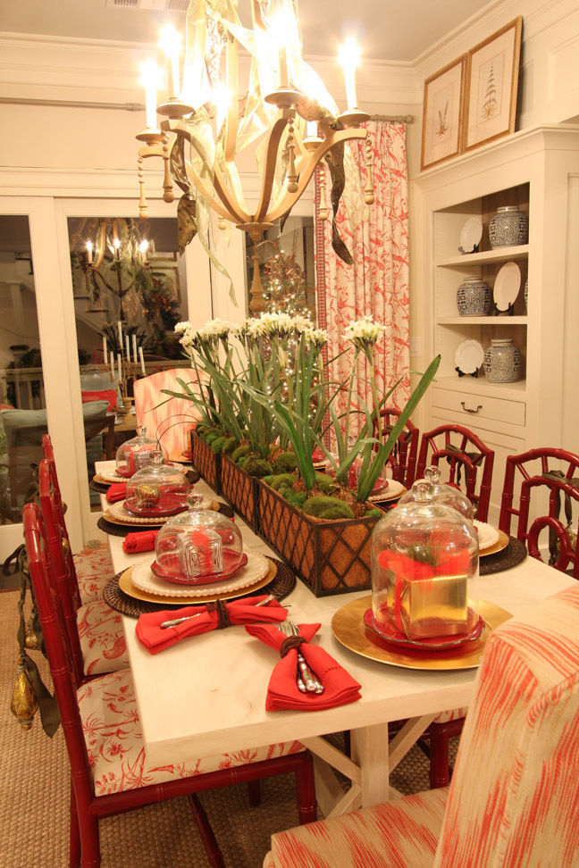 Dining Room decorated for the Christmas Holidays by Carithers Flowers