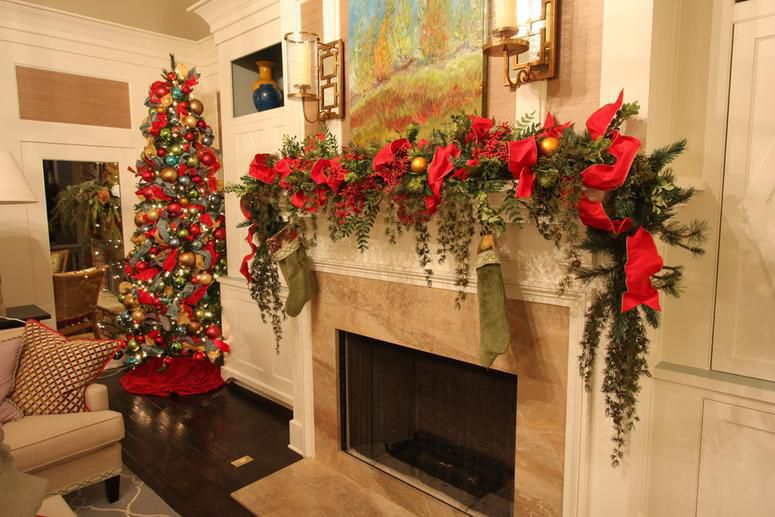 Christmas Holiday Mantle, Christmas Tree, Garland,  Red Poinsettia, Stockings by Carithers Flowers